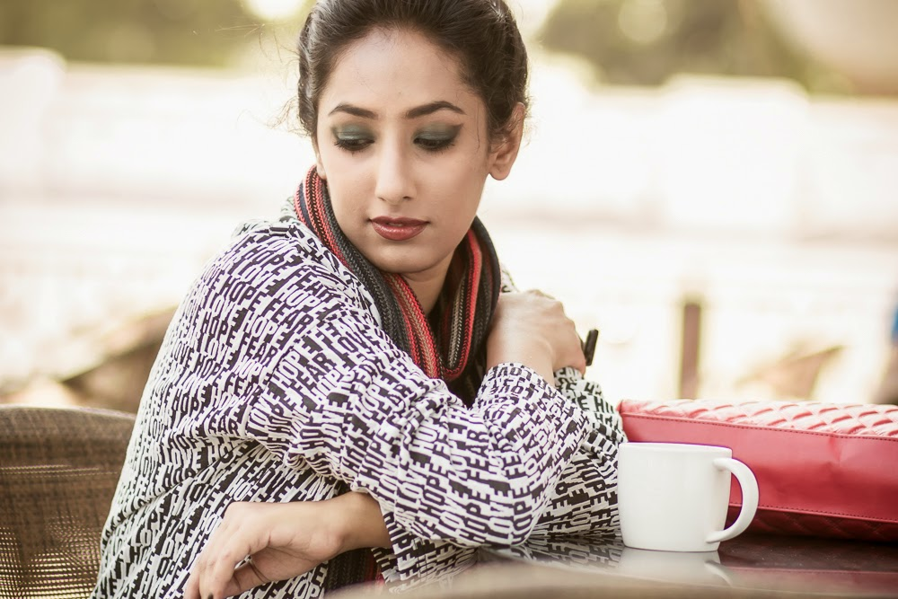SMELL THE COFFEE STARBUCKS EDITORIAL CONCEPTUAL FASHION PHOTOGRAPHY LOOKBOOK  CONCEPTUAL BEAUTY fashion style hyderabad fashion blogger i dress for the applause naznin suhaer  WINTER VERO MODA SCARF WINGED EYES COAT