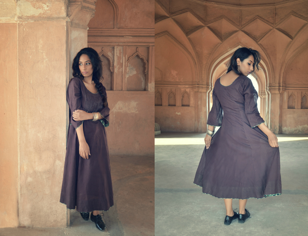 brown ; fusion wear ; dress ; indo western ; samprada ; indian fashion ; lace up shoes ; fashion blogger ; dusky ; vintage; dark hyderabad fashion blogger ; naznin suhaer ; i dress for the applause ; lookbook ;