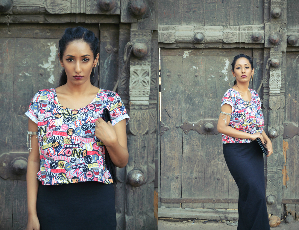crop top ; graphic ; printed tee ; Skirt ; wine lips ; gladiator sandals ; lookbook ; indian fashion ; fashion blogger ; dusky ; vintage; dark hyderabad fashion blogger ; naznin suhaer ; i dress for the applause ;