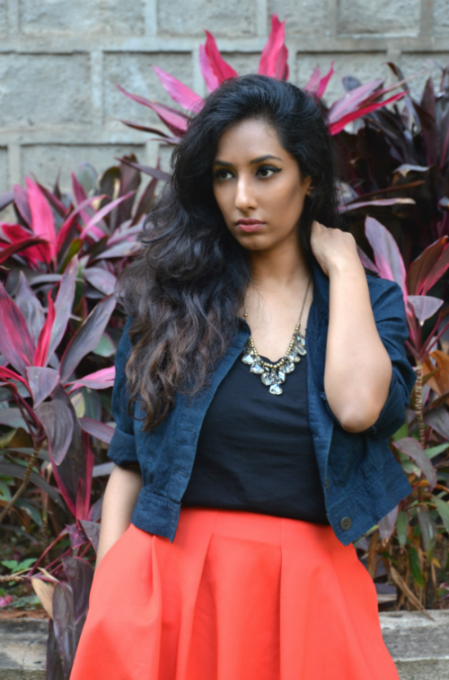 orange skirt ; streetstyle ; street style ; denim jacket ; crystal necklace ; fashion blogger ; dusky ; vintage; dark hyderabad fashion blogger ; naznin suhaer ; i dress for the applause ;