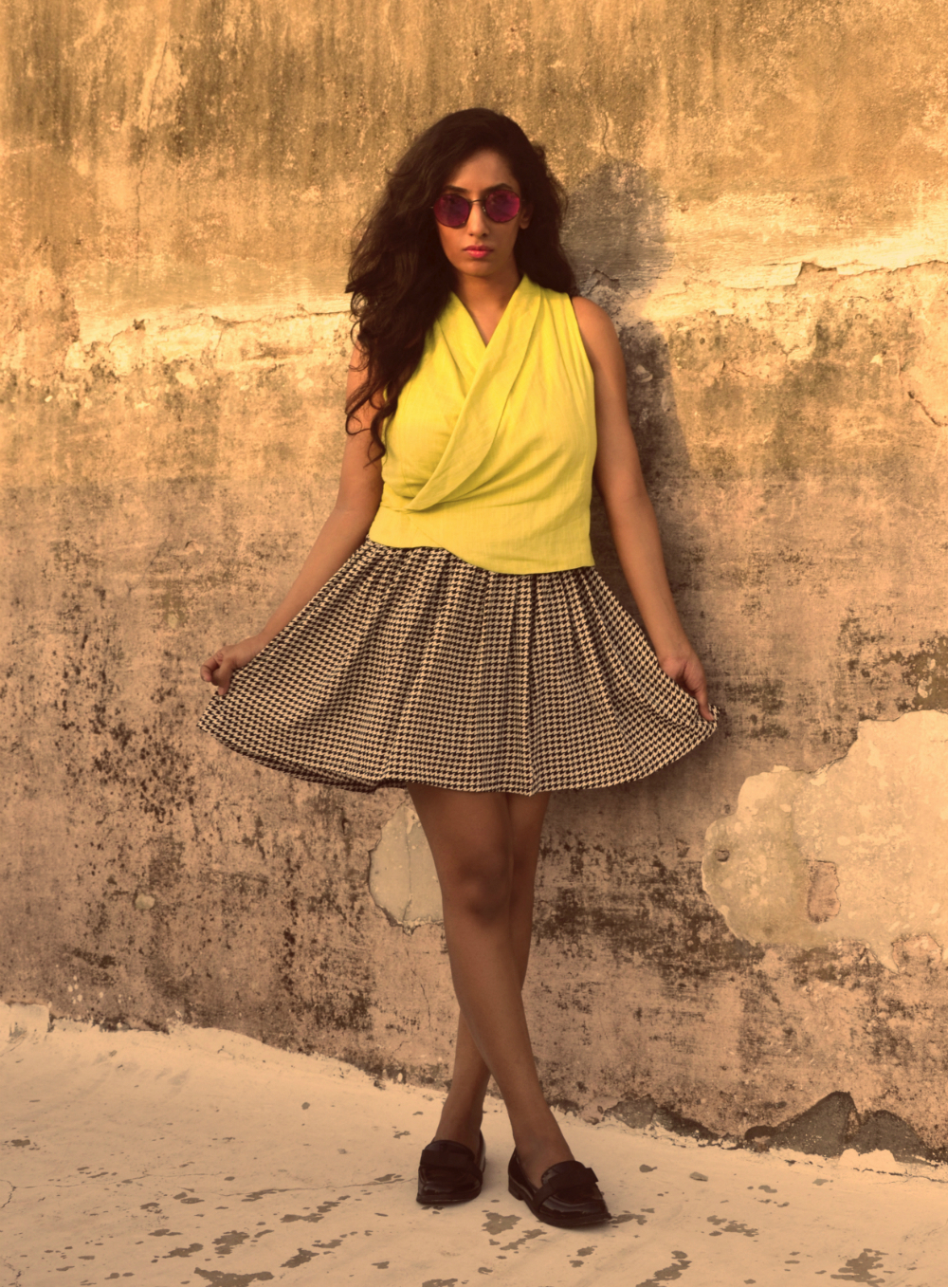 yellow ; alia bhatt for jabong ; casual ; streetstyle ; summer ; houndstooth ; skirt ; fashion blogger ; Naznin Suhaer ; Lookbook ; I Dress for the Applause