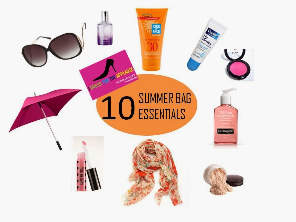 WHAT'S IN YOUR SUMMER BAG ESSENTIALS  SUNSCREEN SUNGLASSES SKINCARE BEAUTY fashion style hyderabad fashion blogger i dress for the applause naznin suhaer