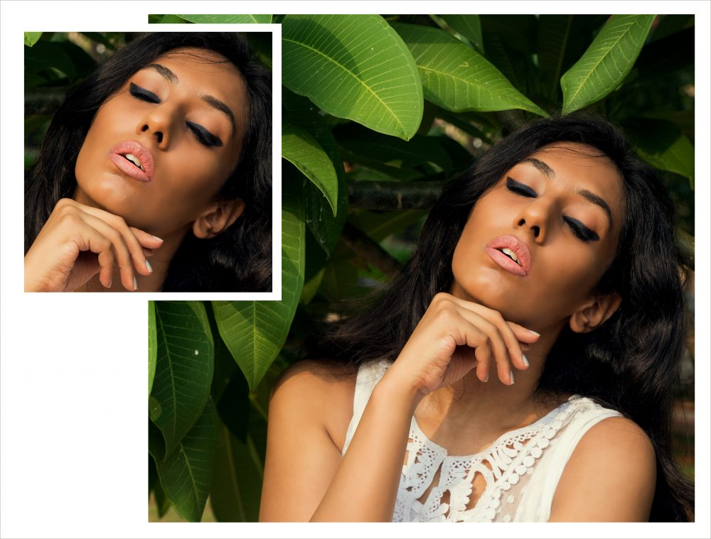 tropical rainforest exotic forest jungle beauty editorial fashion blogger hyderabad blogger Naznin Suhaer I Dress for the Applause indian blogger dusky yellow blue kajal eyeliner matte Mac cosmetics makeup Conceptual fashion photography