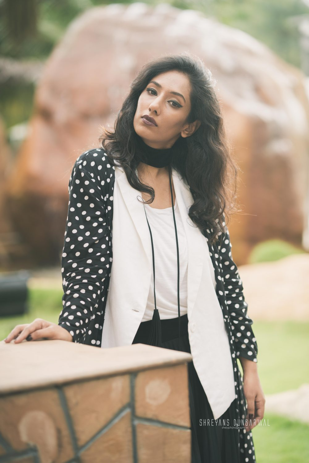 Feature Fashion Style Magazine You and I Hyderabad Blogger Polka Black White Choker Jacket Faballey Code Chemistry India Layering Goth Wine Lips Dark Photography Indian Girl Naznin Suhaer I Dress for the Applause Shoot Cover Girl Interview Lookbook Streetstyle Zaful Fashion