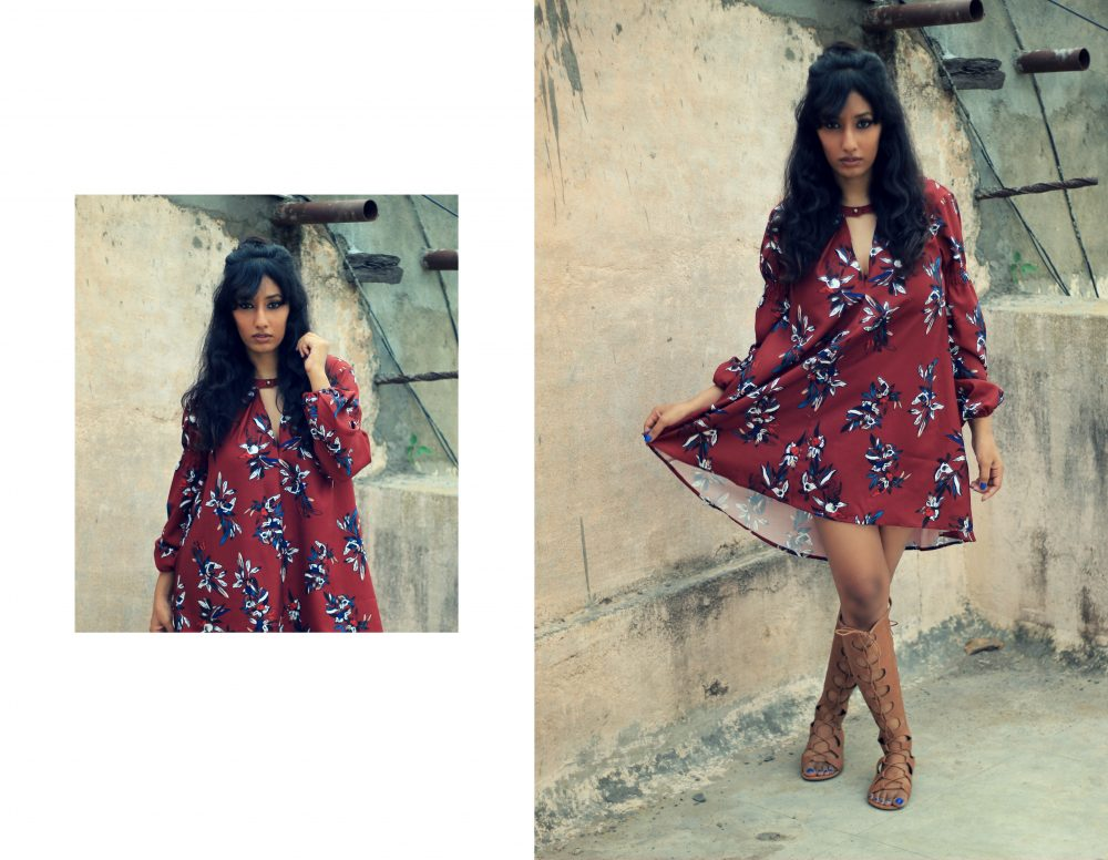 shein floral shift vintage fashion lookbook outfit ootd fashion style oxblood beauty fringe wine gladiators streetstyle naznin suhaer dark i dress for the applause indian blogger hyderabad fashion blogger