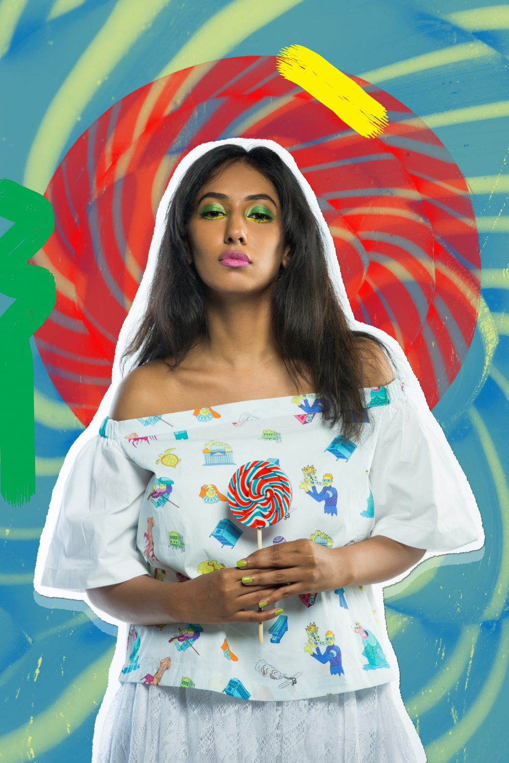 hyderabad fashion bloggers ; Quirk box Quirky colors Editorial colorful fashion photography artwork candies candy style beauty blogger hyderabad indian Naznin Suhaer I Dress for the Applause model conceptual concept vero moda koovs max fashions yellow green fun artist prints graphic artsy pop art