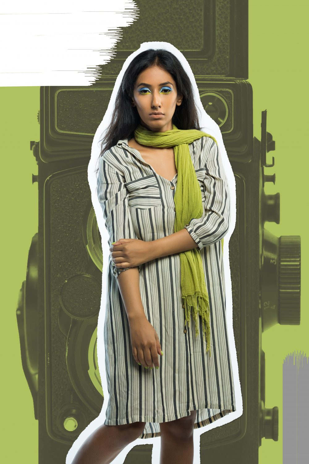 hyderabad fashion bloggers ; Quirk box Quirky colors Editorial colorful fashion photography artwork candies candy style beauty blogger hyderabad indian Naznin Suhaer I Dress for the Applause model conceptual concept vero moda koovs max fashions yellow green fun artist prints graphic artsy pop art shirt dress stripes