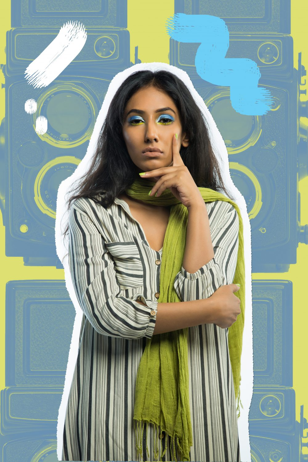 hyderabad fashion bloggers ; Quirk box Quirky colors Editorial colorful fashion photography artwork candies candy style beauty blogger hyderabad indian Naznin Suhaer I Dress for the Applause model conceptual concept vero moda koovs max fashions yellow green fun artist prints graphic artsy pop art stripes shirt dress bird owl