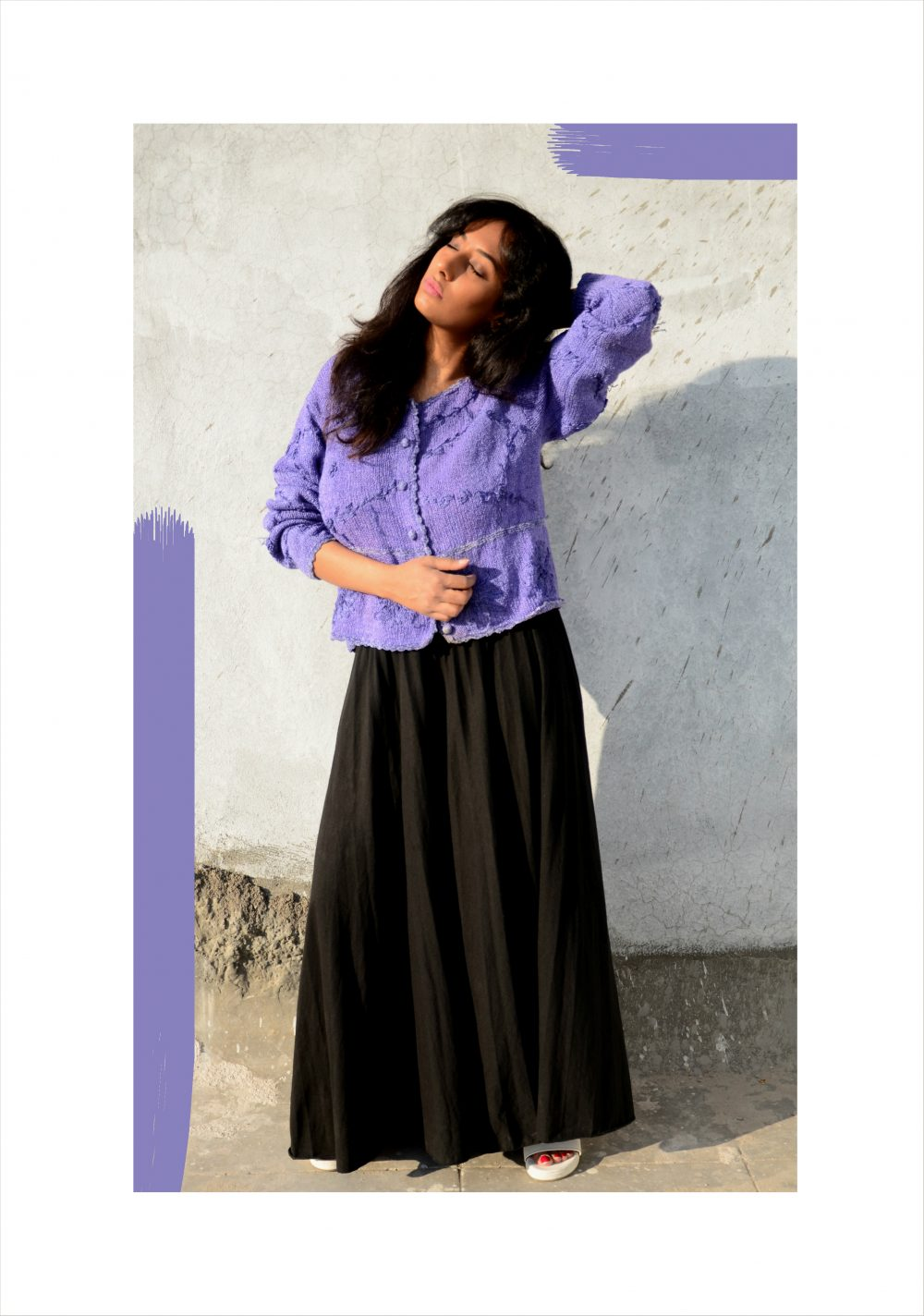 Lookbook ; Conceptual ; fashion photography ; Lilac ; blue ; sweater ; Goa ; vintage ; pop of colors ; nude lips ; messy hair ; strong ; winter fashion ; winter outfit ; Dark ; Naznin ; hyderabad fashion bloggers ; hyderabad bloggers ; hyderabad fashion blogger ; I Dress for the Applause ;