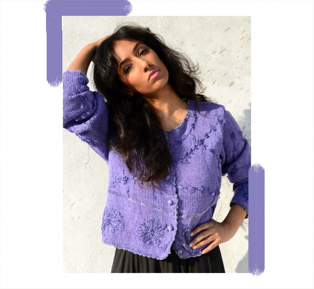 Lookbook ; Conceptual ; fashion photography ; Lilac ; blue ; sweater ; vintage ; pop of colors ; nude lips ; messy hair ; strong ; winter fashion ; winter outfit ; Dark ; Naznin ; hyderabad fashion bloggers ; hyderabad bloggers ; hyderabad fashion blogger ; I Dress for the Applause ;