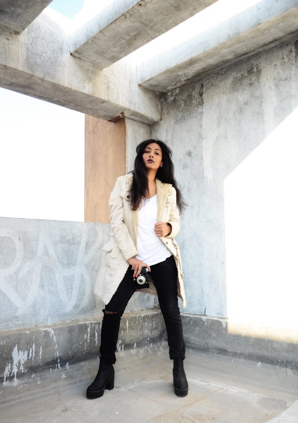 Lookbook ; Fur ; Coat ; Long Coat ; Beige ; White Tee ; Ripped Denims; Conceptual ; fashion photography ; Ankle Boots ; Asos boots ; monochrome ; strong ; Dark lips ; winter fashion ; winter outfit ; winter look ; street style ; street fashion ; Winter ; Dark ; Naznin ; Naznin Suhaer ; hyderabad fashion bloggers ; hyderabad bloggers ; hyderabad fashion blogger ; I Dress for the Applause ;