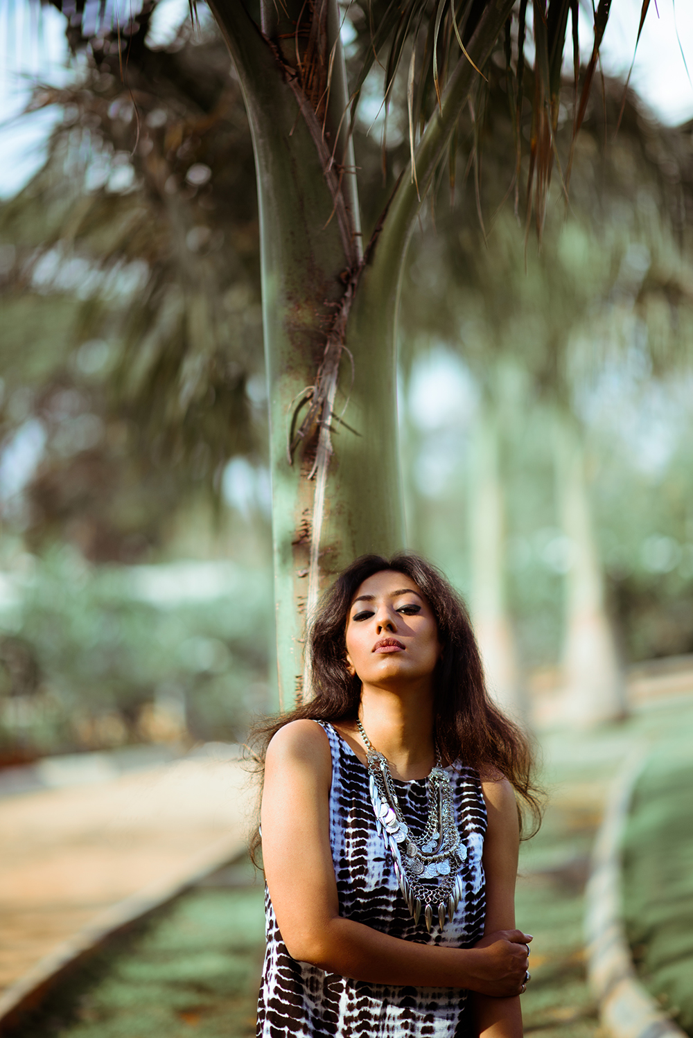 Lookbook ; Bohemian ; Dress ; Maxi ; Tie Dye ; Outfit ; Tan ; Gladiators ; Tribal Necklace ; fashion photography ; palm trees ; resort wear ; Roving Mode ; dusk ; editorial ; strong ; Dark ; summer fashion ; summer outfit ; spring ; summer 17 boho look ; Naznin ; Naznin Suhaer ; dusky; model ; indian blogger ; hyderabad fashion bloggers ; hyderabad bloggers ; hyderabad fashion blogger ; I Dress for the Applause ;