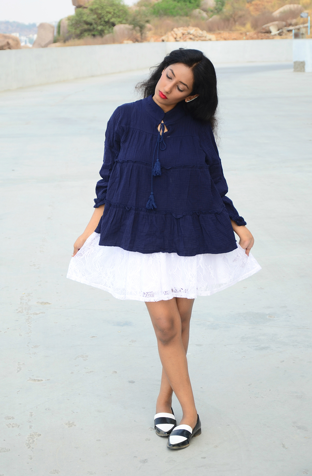 Lookbook ; Ruffle Top ; Lace; Blue ; Skirt ; Monochrome ; White ; Outfit ; One Roze Hyderabad ; Flowers ; Roses ; Hyderabad Store Launch ; Love ; Ear Cuff ; Red Lips ; Zaful ; Boohoo ; fashion photography ; dusk ; editorial ; strong ; Dark ; summer fashion ; summer outfit ; spring ; summer 17; boho look ; Naznin ; Naznin Suhaer ; dusky; model ; indian blogger ; hyderabad fashion bloggers ; hyderabad bloggers ; hyderabad fashion blogger ; I Dress for the Applause ;