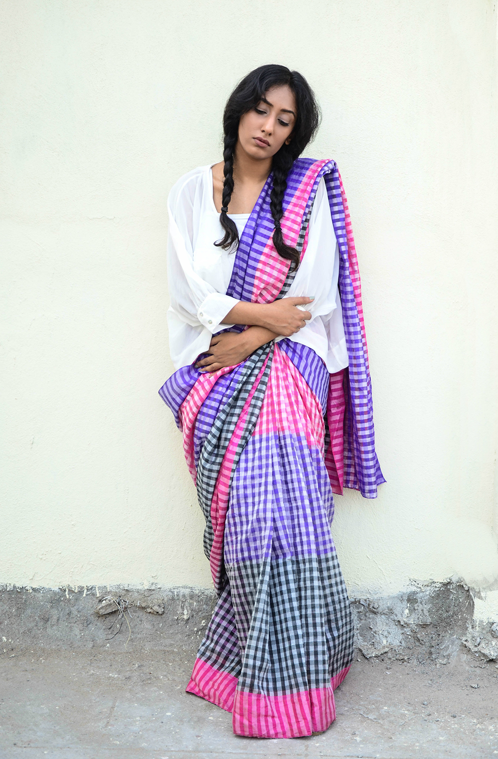 Lookbook ; Sari ; Fusionwear ; Sari with Top ; Checks; Chemistry ; Two braids ; Indian Summer ; runway inspired ; Outfit ; Hyderabad ; fashion photography ; dusk ; editorial ; strong ; Dark ; summer fashion ; summer outfit ; vintage ; spring ; summer 17; boho look ; Naznin ; Naznin Suhaer ; dusky; model ; hyderabad model ; hyderabad blogger ; indian blogger ; hyderabad fashion bloggers ; hyderabad bloggers ; hyderabad fashion blogger ; I Dress for the Applause ;