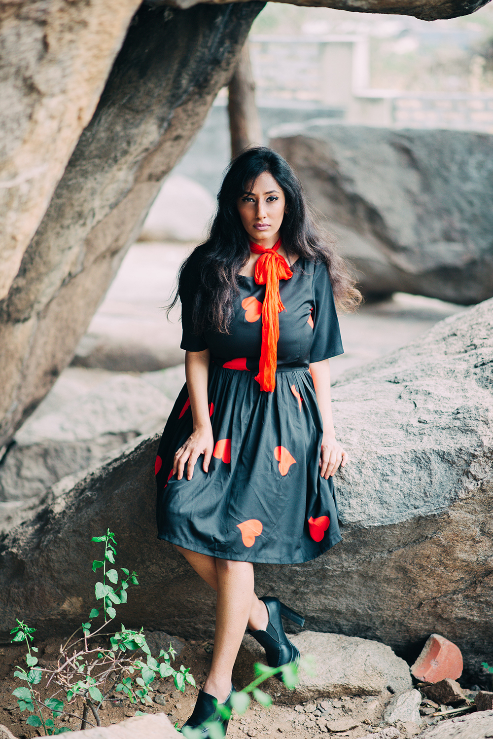 Lookbook ; Heart Print Dress ; Red scarf ; Outfit ; black Booties ; fashion photography ; valentines day look ; date outfit ; Roving Mode ; dusk ; editorial ; strong ; Dark ; summer fashion ; summer outfit ; spring ; summer 17 ; Naznin ; Naznin Suhaer ; dusky; model ; indian blogger ; hyderabad fashion bloggers ; hyderabad bloggers ; hyderabad fashion blogger ; I Dress for the Applause ;