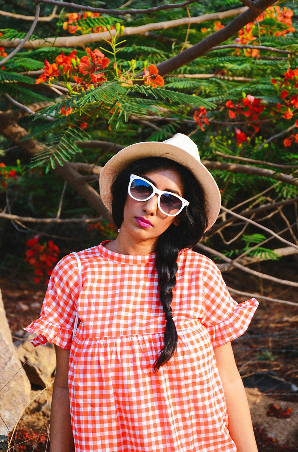 Lookbook ; Gingham ; Orange ; Outfit ; Hat ; White sunglasses ; Summer outfit ; fashion photography ; vintage ; Romwe ; braids ; summer blooms ; woods ; editorial ; strong ; Dark ; summer fashion ; spring ; summer 17 ; Naznin ; Naznin Suhaer ; dusky ; white sling ; indian blogger ; hyderabad fashion bloggers ; hyderabad bloggers ; hyderabad fashion blogger ; I Dress for the Applause ;