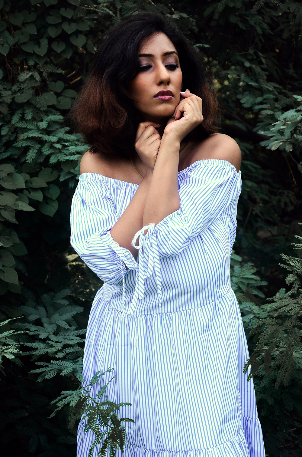Lookbook ; Gypsy ; Bohemian ; Dress ; Striped Maxi ; Cold Shoulder, White and Blue ; Outfit ; fashion photography ; Choker ; Shein ; dusk ; editorial ; strong ; Dark ; summer fashion ; summer outfit ; spring ; summer 17 boho look ; Hyderabad ; Monsoon ; Editorial ; Naznin ; Naznin Suhaer ; dusky; model ; indian blogger ; hyderabad fashion bloggers ; hyderabad bloggers ; hyderabad fashion blogger ; I Dress for the Applause ;