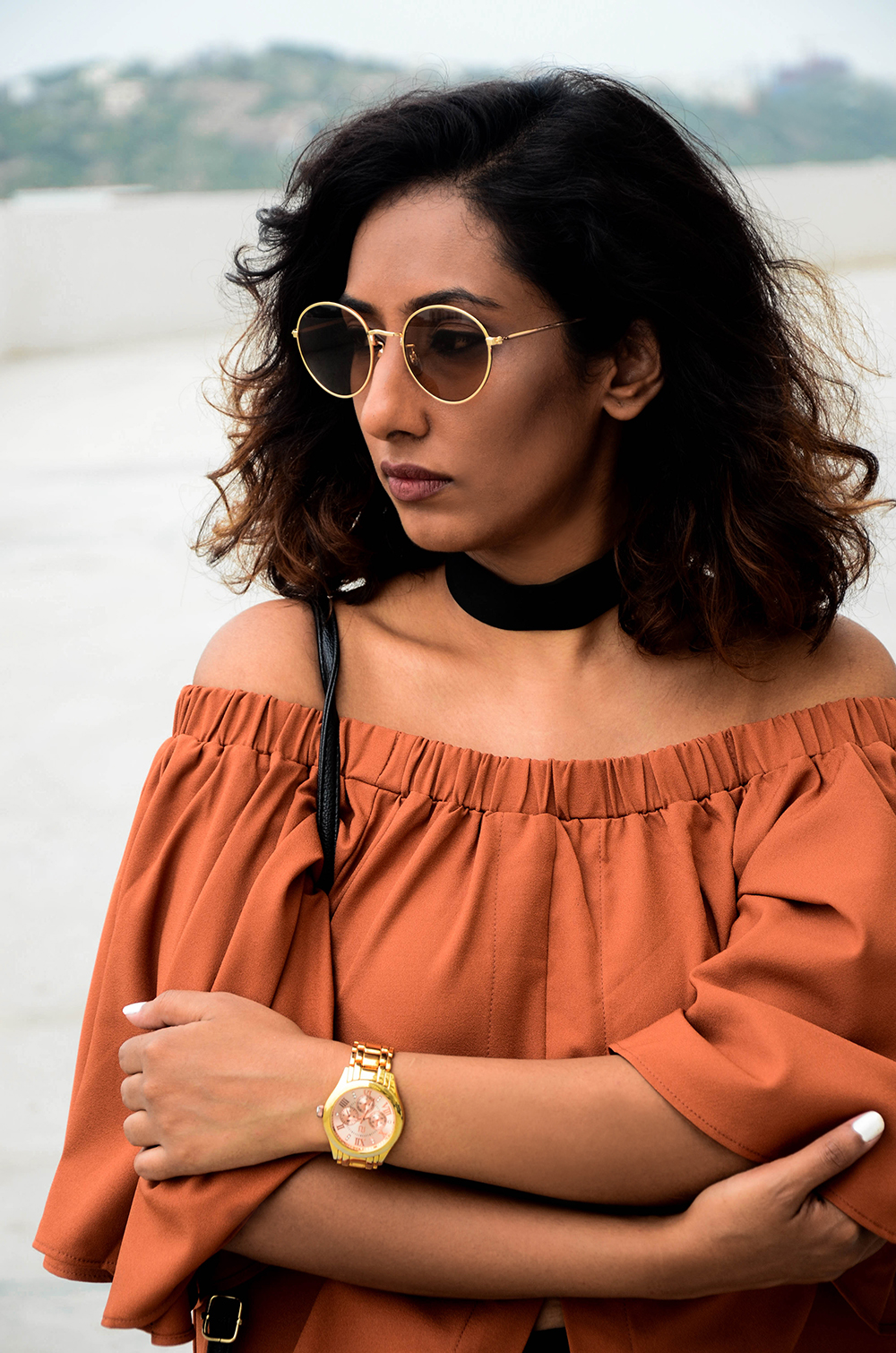 Lookbook ; Coffee Top ; brown ; Streetstyle ; Outfit ; Retro Sunglasses ; fashion photography ; Romwe ; H&M ; street fashion ; strong ; Dark ; fall fashion; Black pants ; Gold accessories ; Naznin ; Naznin Suhaer ; dusky; model ; indian blogger ; hyderabad fashion bloggers ; hyderabad bloggers ; hyderabad fashion blogger ; I Dress for the Applause ;