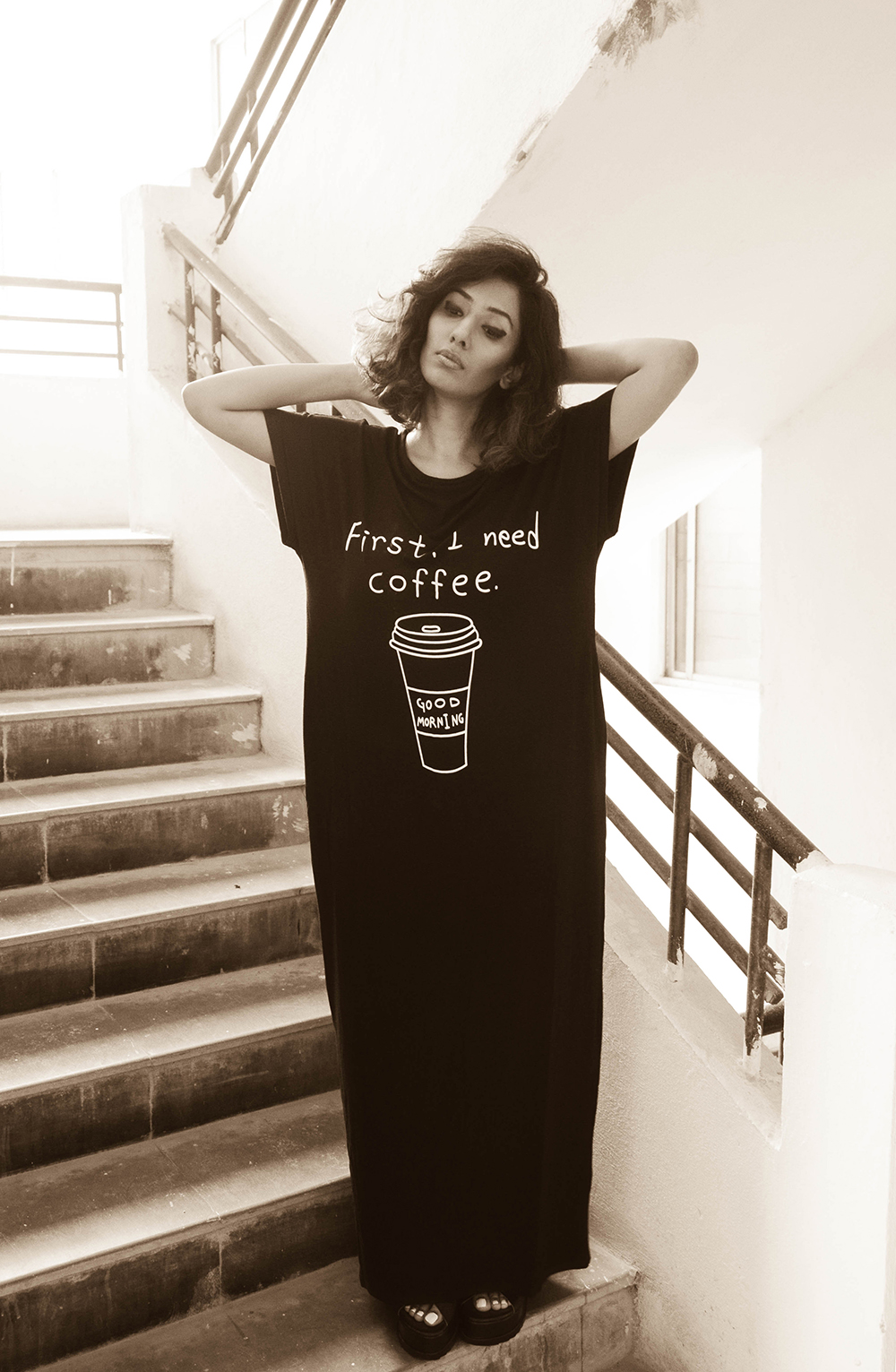 Lookbook ; Black Maxi ; Shein ; Morning Coffee ; Black ; Dress ; Comfy ; Maxi ; Loungewear ; Outfit ; fashion photography ; Messy hair ; Sunday outfit ; summer fashion ; summer outfit ; spring ; summer 17 ; boho look ; Naznin ; Naznin Suhaer ; dusky; model ; indian blogger ; hyderabad fashion bloggers ; hyderabad bloggers ; hyderabad fashion blogger ; I Dress for the Applause ;