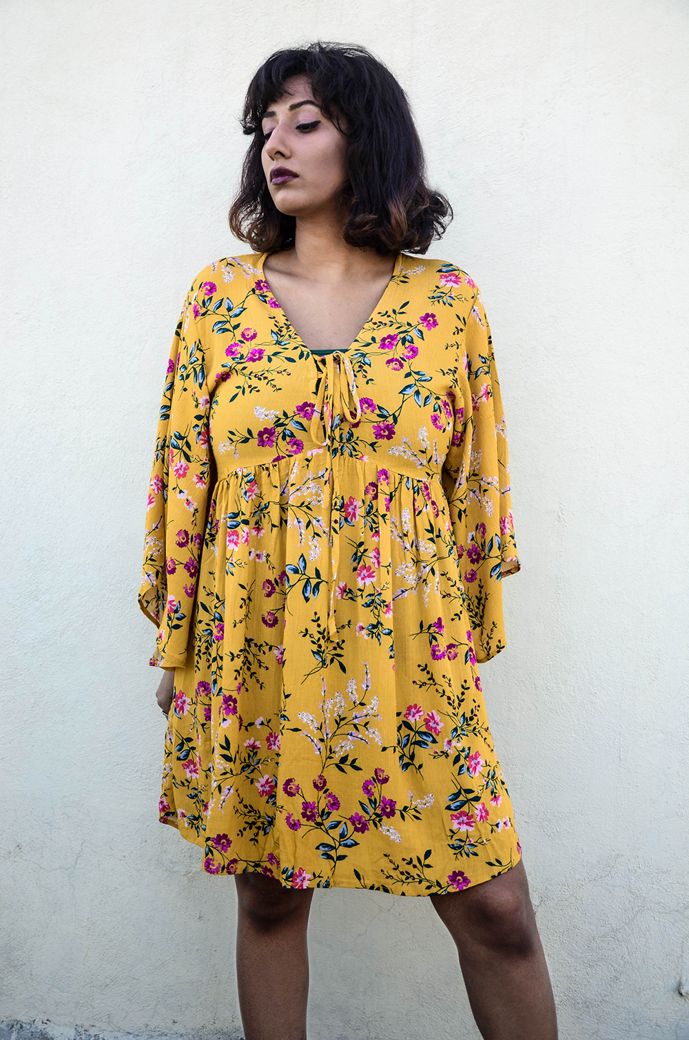 Floral ; Yellow ; Shift Dress ; Bohemian ; Lookbook ; Outfit ; fashion photography ; Romwe ; combat boots ; wine lips ; grunge ; ootd ; fall look ; tropical ; sunset ; strong ; Dark ; winter fashion ; fall 17 ; Hyderabad ; Editorial ; Naznin ; Naznin Suhaer ; dusky; model ; indian blogger ; hyderabad fashion bloggers ; hyderabad bloggers ; hyderabad fashion blogger ; I Dress for the Applause ;
