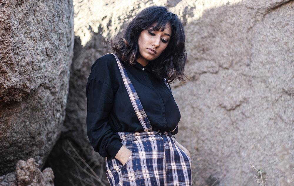 Lookbook ; Plaid ; Pants ; Suspenders ; Streetstyle ; Outfit ; fashion photography ; Romwe ; street fashion ; boots ; sunset ; strong ; Dark ; fall fashion; Naznin ; Naznin Suhaer ; dusky; model ; indian blogger ; hyderabad fashion bloggers ; hyderabad bloggers ; hyderabad fashion blogger ; I Dress for the Applause