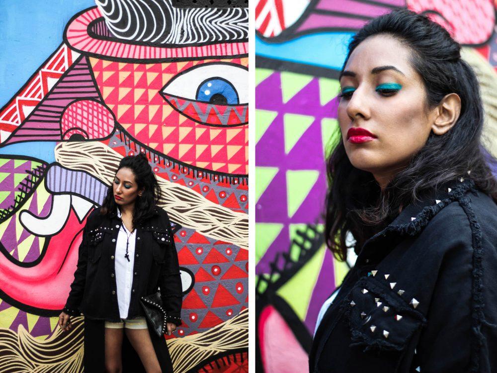 Pop Art ; Street style ; Graffiti ; Editorial ; Inspiration ; Colorful ; Bright Colors ; Black Outfit ; Punk Fashion ; Studded Jacket ; Romwe ; Maybelline ; fashion photography ; street fashion ; Naznin ; Naznin Suhaer ; dusky; model ; indian blogger ; hyderabad fashion bloggers ; hyderabad bloggers ; hyderabad fashion blogger ; I Dress for the Applause ; Hyderabad ; Start India ;