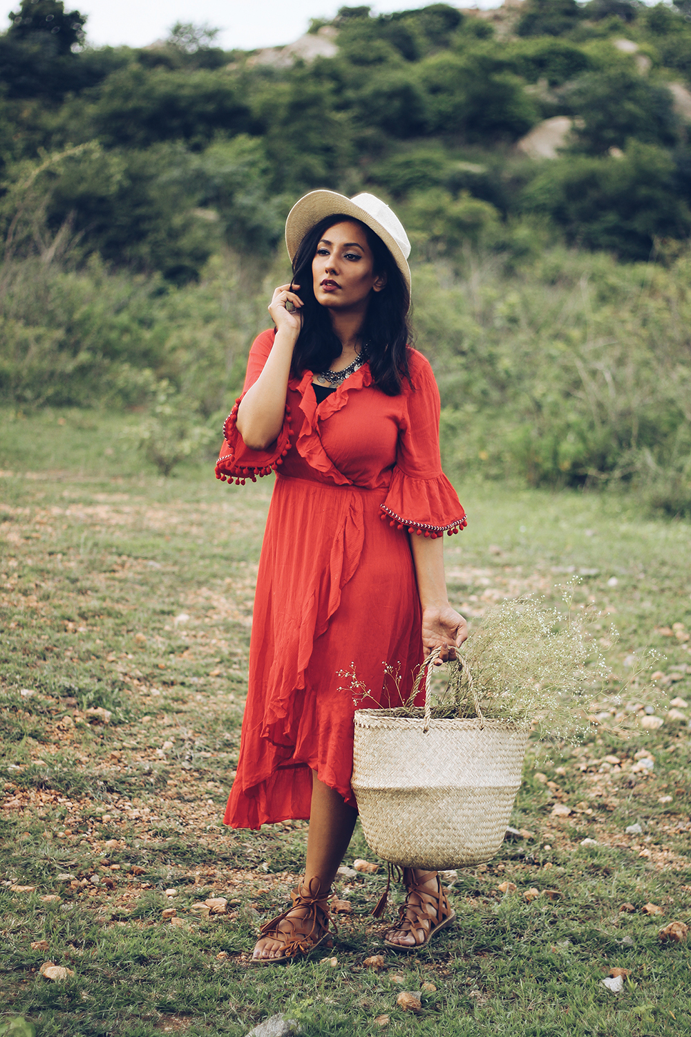 Red Maxi ; Ruflles ; Tan ; Lookbook ; Outfit ; fashion photography ; Red Lips ; Zaful Maxi ; ootd ; fall look ; Country fashion ; Hat ; Monsoon Story ; Flowers ; sunset ; strong ; Dark ; summer fashion ; summer outfit ; spring ; fall 18 ; Hyderabad ; Editorial ; Naznin ; Naznin Suhaer ; dusky; model ; indian blogger ; hyderabad fashion bloggers ; hyderabad bloggers ; hyderabad fashion blogger ; I Dress for the Applause ;