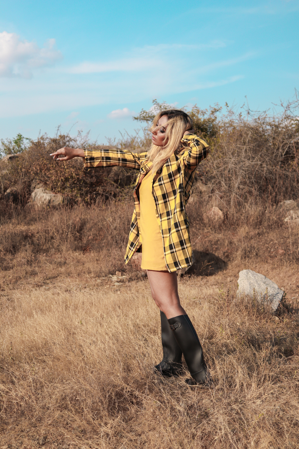 Yellow Plaid coat ; Winter Coat ; Fall Fashion ; Layering ; Blonde ; Tall boots ; Conceptual ; Winter Outfit ; Runway Fashion ; 70s fashion ; fashion photography ; ootd ; fall look ; winter Fashion ; zaful ; fall 18 ; Hyderabad ; Editorial ; Naznin ; Naznin Suhaer ; dusky; model ; indian blogger ; hyderabad fashion bloggers ; hyderabad bloggers ; hyderabad fashion blogger ; I Dress for the Applause ;